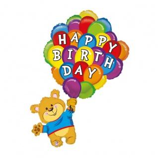 Karaloon Bär Ballon Happy Birthday aus aluminiumbeschichteter Folie