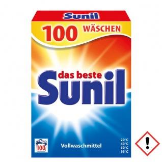Sunil Vollwaschmittelpulver weiße Wäsche mit Flecklösekraft 100WL