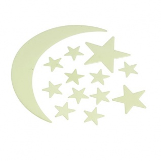 Eddy Toys Leuchtsticker Mond und Sterne für Decke, Wände, Türen 13teiliges Set