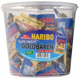 Haribo Goldbären Gute Nacht 100 Minibeutel mit Fruchtgummi 1200g