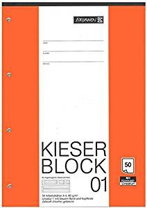 Kieser Block 01 DIN A4 Schullineatur 4-fach gelocht