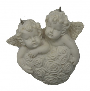 Engel zwei Engelchen an einem Rosenherz mit Aufhängevorrichtung