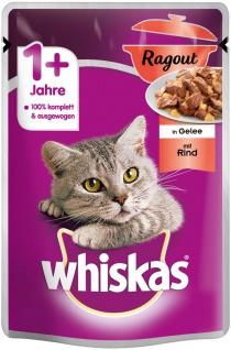 Whiskas Katzenfutter Nassfutter Ragout Adult 1+ mit Rind in Gelee 85g
