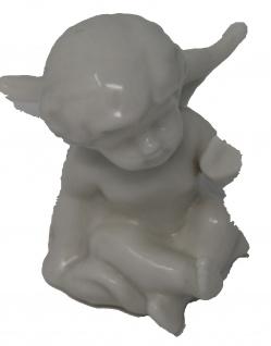 Engels Figur Klein weiß glänzende aus Porzellan sitzend mit Kusshand