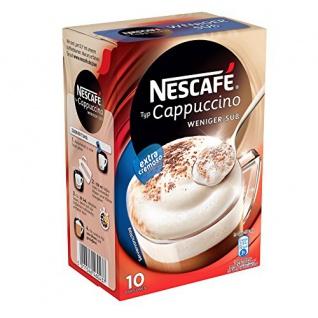 Nescafé Typ Cappuccino Weniger süss, Löslicher Kaffee, Faltschachtel mit 10 x 12, 5g Portionsbeutel (4er Pack)