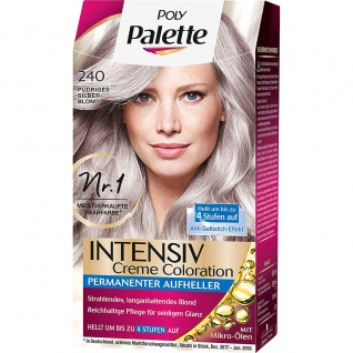 POLY PALETTE Intensiv Creme Coloration 240 Pudriges Silberblond Stufe 3 115 Ml