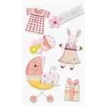 3D-Sticker Geburt Mädchen 1 Bogen mit schönen und süßen Stickern