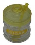 Zuckerdose gelb mit Löffel und Deckel aus Kunststoff Höhe 11cm