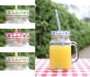 Trinkglas mit Deckel/Halm Karo