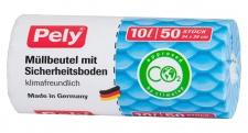 pely 5545 Müllbeutel mit Sicherheitsboden - klimafreundlich, 10 L, 50 Stück, 3-er Pack