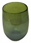 Vase Blumenvase in der Farbe Grün rund aus Glas mit Luftblasenmuster groß