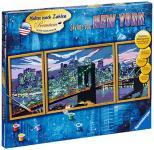 Ravensburger 28951 - Skyline von New York - Malen nach Zahlen Premium Triptychon, 100 x 40 cm