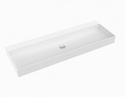 Waschbecken - Mineralguss - weiß glänzend - 120.5 x 40.5 x 10.5 - Aufsatzbecken - Modell Velino-Grande von Bädermax