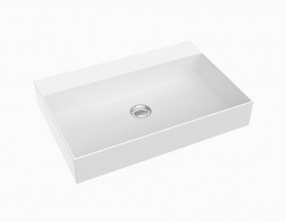 Waschbecken - Mineralguss - weiß glänzend - 60.5 x 40.5 x 10.5 - Aufsatzbecken - Modell Velino von Bädermax
