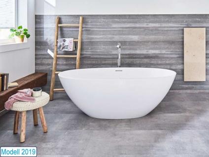 Freistehende Badewanne Piemont Medio aus Mineralguss von Bädermax inkl. Ab-/Überlauf