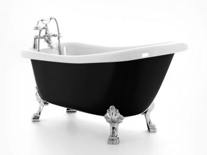 Freistehende Nostalgie Badewanne Blackpool aus Acryl in schwarz/weiß glänzend von Bädermax