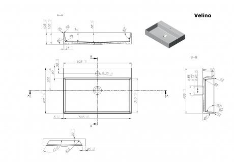 Waschbecken - Mineralguss - weiß glänzend - 60.5 x 40.5 x 10.5 - Aufsatzbecken - Modell Velino von Bädermax - Vorschau 2