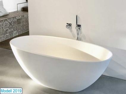 Freistehende Badewanne Piemont Medio aus Mineralguss von Bädermax inkl. Ab-/Überlauf - Vorschau 4