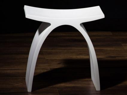 Badezimmer-Hocker aus Mineralguss - weiß glänzend - Modell Pianoro - Bädermax - Vorschau 1