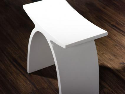 Badezimmer-Hocker aus Mineralguss - weiß glänzend - Modell Pianoro - Bädermax - Vorschau 3