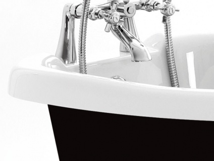 Freistehende Nostalgie Badewanne Blackpool aus Acryl in schwarz/weiß glänzend von Bädermax - Vorschau 3