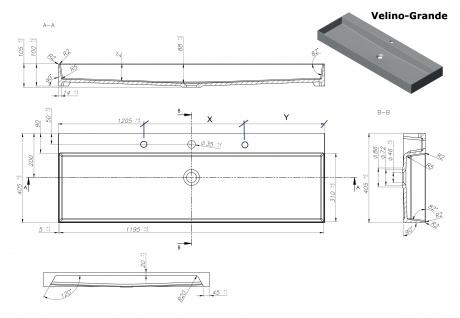 Waschbecken - Mineralguss - weiß glänzend - 120.5 x 40.5 x 10.5 - Aufsatzbecken - Modell Velino-Grande von Bädermax - Vorschau 2