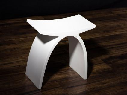 Badezimmer-Hocker aus Mineralguss - weiß glänzend - Modell Pianoro - Bädermax - Vorschau 2
