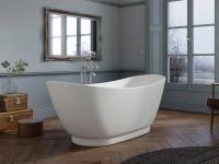 Freistehende Badewanne Sanitas aus Acryl in weiß glänzend von Bädermax