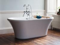 Freistehende Badewanne Sabadell aus Acryl in weiß glänzend von Bädermax