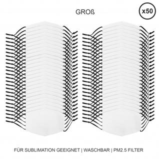50 Stück große Gesichtsmasken für den Sublimationsdruck Mund- Nasenbedeckung Stoffmaske Blanko Maske zum Bedrucken waschbar Mund-Nasenschutz Mundbedeckung Face Mask Groß