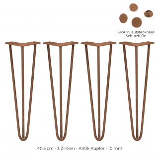 SKISKI Legs 4 x 40, 6cm 3 Streben Hairpin Haarnadelbeine Haar-Nadel-Beine Haarnadel-Beine Tischbeine Stuhlbeine Möbelbeine Haarnadel-Tischbeine 12mm
