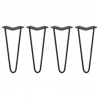 SKISKI Legs 4 x 2 Streben Hairpin Haarnadelbeine Haar-Nadel-Beine Haarnadel-Beine Tischbeine Stuhlbeine Möbelbeine Haarnadel-Tischbeine 30.5cm H 10mm D pulverbeschichteter Stahl - Schwarz