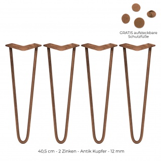 SKISKI Legs 4 x 40, 6cm 2 Streben Hairpin Haarnadelbeine Haar-Nadel-Beine Haarnadel-Beine Tischbeine Stuhlbeine Möbelbeine Haarnadel-Tischbeine 12mm