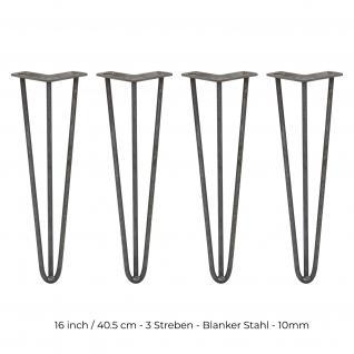 SKISKI Legs 4 x 3 Streben Haarnadelbeine Haar-Nadel-Beine Haarnadel-Beine Tischbeine Stuhlbeine Möbelbeine Haarnadel-Tischbeine 40.5cm H 10mm D blanker Stahl
