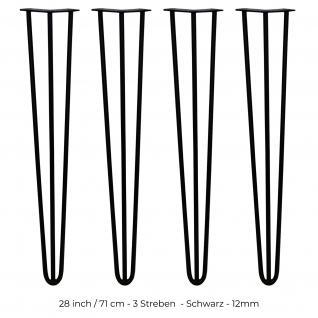 SKISKI Legs 4 x 3 Streben Haarnadelbeine Haar-Nadel-Beine Haarnadel-Beine Tischbeine Stuhlbeine Möbelbeine Haarnadel-Tischbeine 71cm aus Stahl - pulverbeschichtet