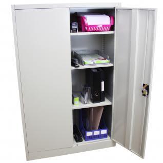MonsterShop abschließbarer Aktenschrank Ablageschrank Registratur Stahlschrank Büroschrank Büromöbel 140cm (H) x 90cm (B) x 40cm (T) hellgrau 3 Regale - Vorschau 2