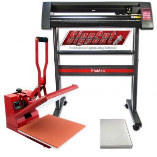 PixMax Vinyl-Schneideplotter Folienplotter & Transferpresse Hitzepresse Heisspresse Flachpresse Textilpresse im Set & Gratis Sublimationspapier