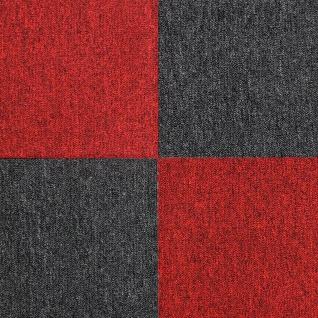 MonsterShop 40 Stück Teppichfliesen Bodenfliesen Teppich 50 x 50 cm für 10 m² in Rot & Schwarz