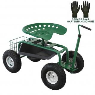 Gartensitz Fahrbarer 150kg Sitzwagen Rollsitz Gartenhelfer Grün Scooter Profi mit Werkzeugfach und Korb