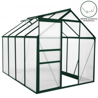 Gewächshaus 1.9m x 2.5m ohne Sockel Aluminium Alu Gartenhaus 195cm x 190cm x 250cm Treibhaus Hybrid Glashaus PC-Platten