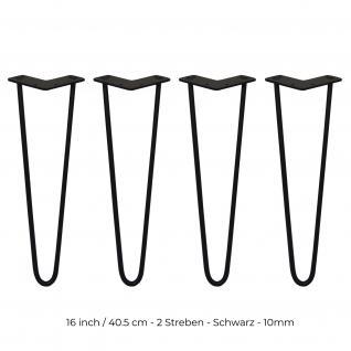 SKISKI Legs 4 x 2 Streben Haarnadelbeine Haar-Nadel-Beine Haarnadel-Beine Tischbeine Stuhlbeine Möbelbeine Haarnadel-Tischbeine 40.5cm H 10mm D Stahl - Schwarz