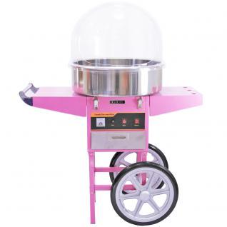 KuKoo Rosa Zuckerwattemaschine Zuckerwattegerät Zuckerwatte inklusive passendem Wagen mit 2 Rädern und Schubfach und Schutzhaube