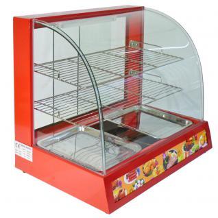 KuKoo Beheizte Vitrine Warme Küche Speisewärmer mit Glasschiebetüren 66cm x 45cm x 59, 3cm