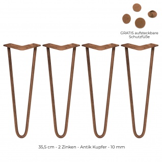 SKISKI Legs 4 x 35.5cm 2 Streben Hairpin Haarnadelbeine Haar-Nadel-Beine Haarnadel-Beine Tischbeine Stuhlbeine Möbelbeine Haarnadel-Tischbeine