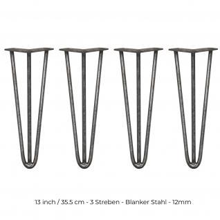SKISKI Legs 4 x 3 Streben Hairpin Haarnadelbeine Haar-Nadel-Beine Haarnadel-Beine Tischbeine Stuhlbeine Möbelbeine Haarnadel-Tischbeine 35.5cm H 12mm D blanker Stahl