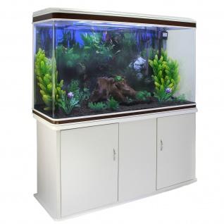 Aquarium Komplettset mit weißem Unterschrank & schwarzem Kies 70cm H x 120cm B x 39cm T