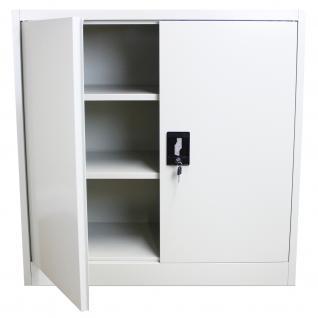 MonsterShop abschließbarer Aktenschrank Ablageschrank Registratur Stahlschrank Büroschrank Büromöbel 90cm (H) x 90cm (B) x 40cm (T) hellgrau