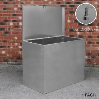 Verzinkter Futterbehälter 1 Fach 64 Liter Futtertonne Futteraufbewahrung Futterlagerung Futterlager wetterfest Futtertrog mit Deckel witterungsbeständig Futterbox