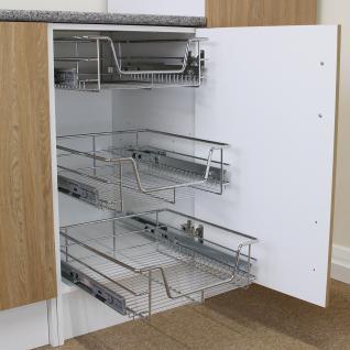 KuKoo - Küchenschublade Schrankkörbe Schrankkorb Schrankauszug Korbauszug Küchenkorb Teleskop Schublade ausziehbar & sanft schließend 42, 5cm x 36, 4cm x 14cm