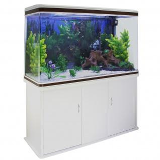 300L Aquarium Komplettset mit weißem Unterschrank & weißem Kies 70cm H x 120cm B x 39cm T